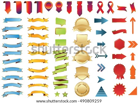 Banner gold red vector icon set on white background. Ribbon isolated shapes illustration of gift and accessory. Christmas sticker and decoration for app and web. Label, badge and borders collection.