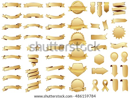 Banner gold vector icon set on white background. Ribbon isolated shapes illustration of gift and accessory. Christmas sticker and decoration for app and web. Label, badge and borders collection.