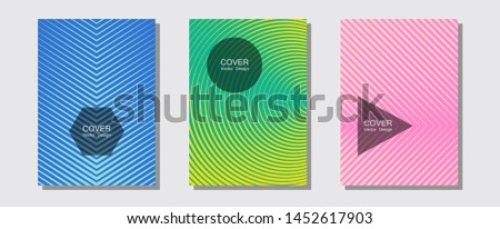 Banner graphics cool vector templates set. Digital collection. Halftone lines music poster background. Vibrant tech mockups. Abstract banners graphic design with lined shapes.