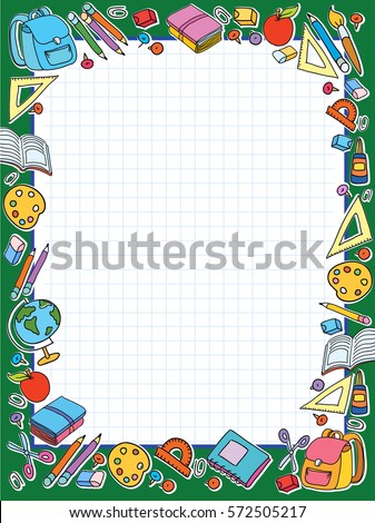 banner green cell sheet in cage with set of different school things bag apple vector illustration