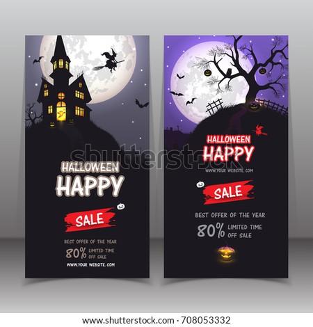 Banner Halloween sale . Set of vector design elements.