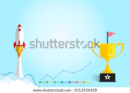 Banner ideas startup business to success.Rocket ship flying and revenue graph and trophies with copy space.Concept of creating business for success.Award,Champion.vector illustration
