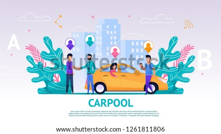 Banner Illustration Group People Travel Companion. Vector Image Carpool. Men Greet. Guy Driver Greet his Fellow Travelers on Road. Traveling Together by Car. Woman Sitting Back Seat Car Waiting Trip