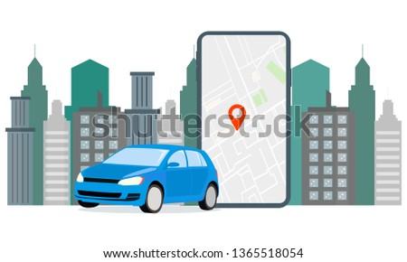 Banner Illustration Navigation Car Rental. The screen displays GPS data car parking. Use Car Hire for Mobile Services