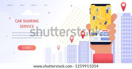 Banner Illustration Navigation Location Rental Car. Vector Image Hand Holding Mobile Phone, Screen Displaying Gps Data Car Parking Location. Use Mobile Car Sharing Service Application Vehicle Rental