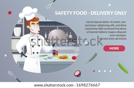 Banner Illustration Safety Food - Delivery Only. Commercial Kitchen with Cartoon Characters Chef Cook Dish Dinner. Vector Restaurant Kitchen with Culinary Staff Holding Round Cloche Tray with Food.