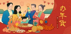 Banner illustration with family buying nuts and fried fruits, Translation: Spring, December 27th, Go to market, Chinese new year shopping