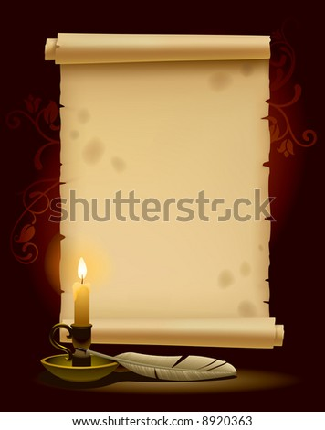 Banner in the form of old parchment with a light - stock vector