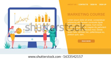 Banner Inscription Marketing Course, Landing Page. Company Managers Stand Near Large Monitor. Full Woman Shows Pointer to Graph Indicators. Indicators on an Interactive Whiteboard.
