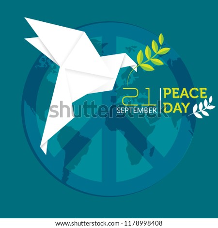 Banner International Day of Peace, 21 September. Vector illustration of white origami dove with olive branch.