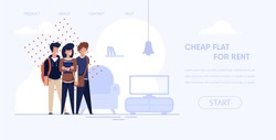 Banner is Written Cheap Flat for Rent Cartoon. Young People Rented Apartment Rejoice. Interior Living Room. Financially Advantageous Rent Room for Students. Vector Illustration Landing Page.