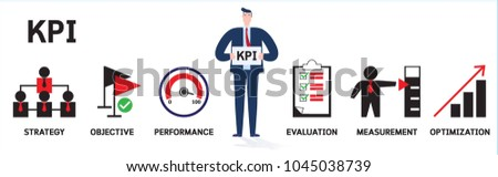 Banner KPI infographics concept with icons.