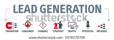Banner lead generation, marketing process for generating business leads. Vector illustration with icons