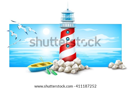 banner lighthouse and boat rock