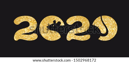 Banner Logo gold 2020 happy new year, Christmas. Vector flat illustration with a silhouette image of a mouse. The rat is the talisman of the eastern calendar.