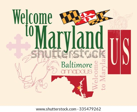 Banner Maryland a map with the symbol of the state. Vector illustration.
