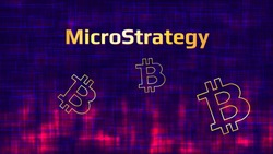Banner MicroStrategy Incorporated on dark abstract background with Bitcoin symbols and red glow. Company that buys bitcoins and other digital coins and pushes the market up. Vector illustration.