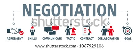 Banner negotiation deal agreement collaboration concept vector illustration with keywords and icons
