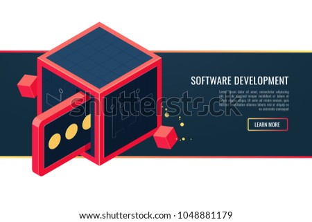 Banner of custom software development company site services, programming, coding, building and debugging for websites and marketing materials. Conceptual vector vertical banner