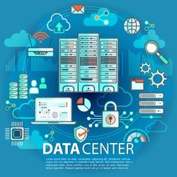 Banner of Data Center technology concept in flat design. Hosting services concept. Vector Illustration