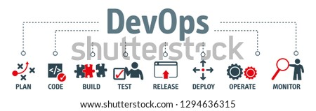 Banner of DevOps concept. Software engineering culture and practice of software development and software operation. Vector Illustration