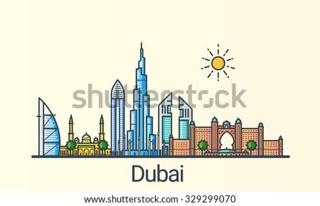 banner of dubai city in flat...