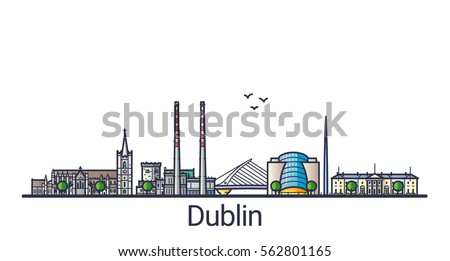 banner of dublin city in flat