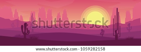 Banner of landscape view of desert with dried land hill,mountain rock with some cactuses tree in morning sunrise or evening sunset time in orange pink tone for website banner