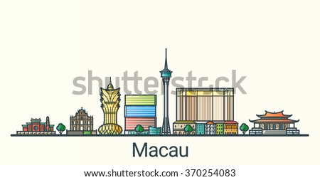 banner of macau city in flat