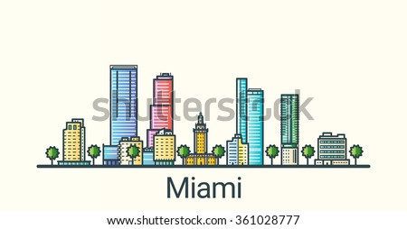 banner of miami city in flat