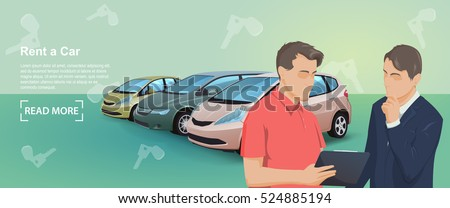 Banner of Rent auto service. Trading cars and rental cars. Buying the car