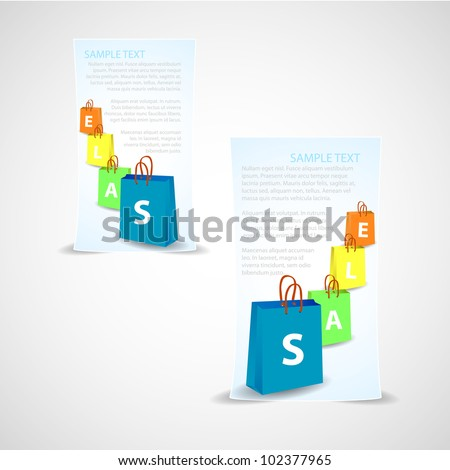 Banner of sale background with paper bag and sample text