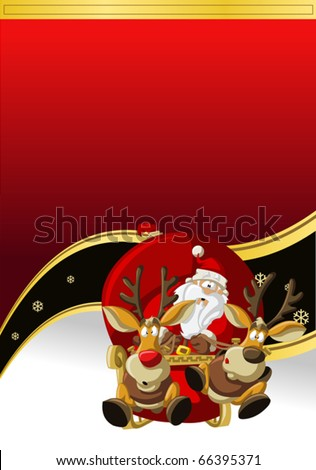 Banner of Santa-Claus on sleigh with reindeer