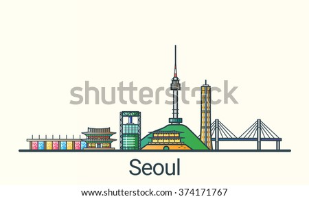 banner of seoul in flat line