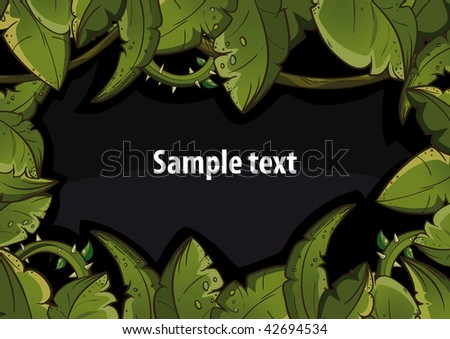 Banner of tropical leaves black