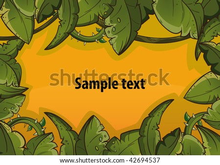Banner of tropical leaves orange