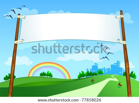 Banner on city landscape, vector