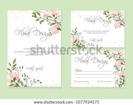 Banner on flower background. Wedding Invitation, modern card Design. eps 10. #1077924575