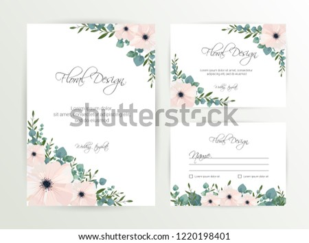 Banner on flower background. Wedding Invitation, modern card Design. Save the Date Card Templates Set with Greenery, Decorative Floral and Herbs Element. Vintage Botanical. eps 10 #1220198401