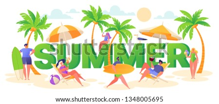 Banner on summer vacation theme. Outdoor activity and rest on the beach. Horizontal poster with active characters women and men. Sport and active life motivation concept. Trendy vector illustration.