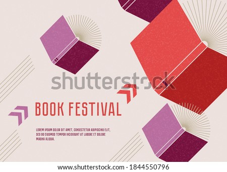 Banner or poster for book festival. Open books flying with arrows. Concept. Vector minimalist background with textures. Design template for a library.  Striving for success.