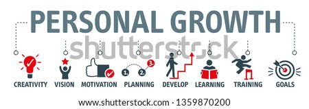 Banner personal growth vector illustration concept. creativity, vision, motivation, planning, develop, learning, training and goals icons Stock photo ©