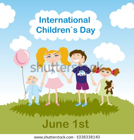 Banner, poster or postcard to the International Children's Day