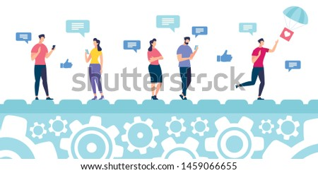 Banner Reaction to Content in Social Networks. Conceptual Idea Methods and Ways Disseminating Information in Network. Men and Women are on Conveyor Belt with Smartphones. Vector Illustration.