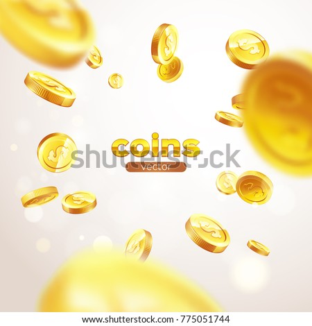 banner realistic gold coins...