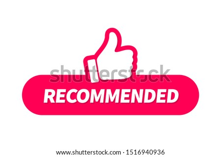 Banner recommended with thumb up. Red web push button with text recommended isolated on white background. Foto stock ©