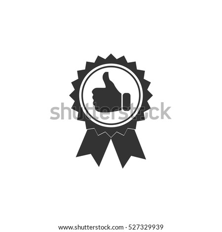 Banner ribbon Thumb up icon flat. Illustration isolated vector sign symbol