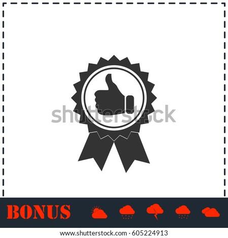 Banner ribbon Thumb up icon flat. Simple vector symbol and bonus icon