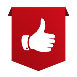 Banner ribbon Thumb up red icon isolated on white background. Vector illustration