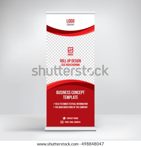Banner roll-up design, business concept. Graphic template roll-up for  exhibitions, banner for seminar, layout for placement of photos. Universal stand for conference, promo banner vector background.